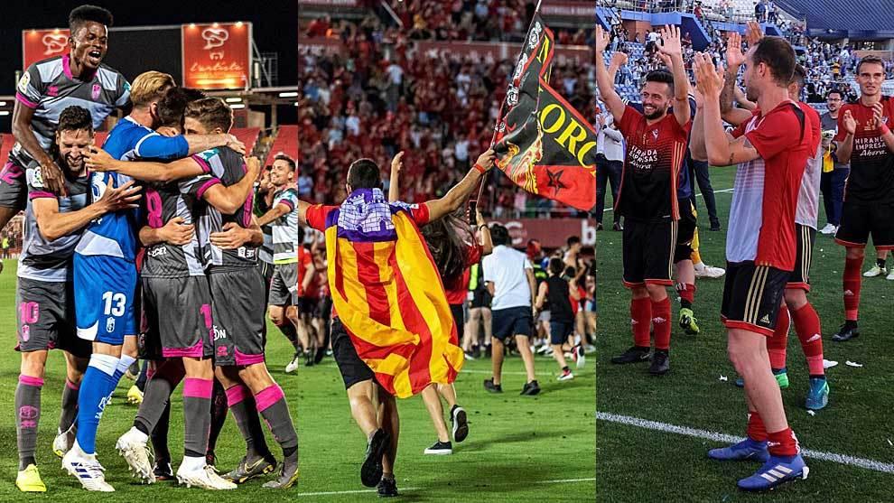 Jugadores y afición de Granada, Mallorca y Mirandés celebrando su...