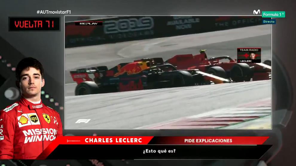 Leclerc y Verstappen pelean por posición.