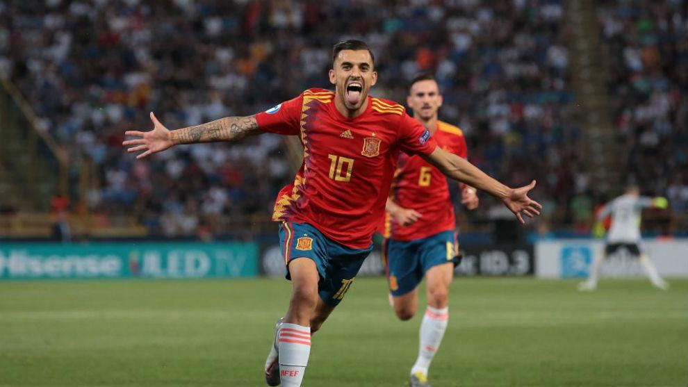 Ceballos celebra uno de los goles que marcó en la Eurocopa sub 21.