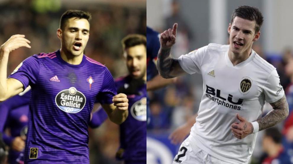 Maxi Gómez y Sani Mina celebra goles con sus equipos.