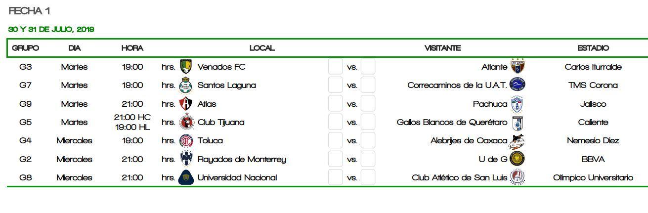 Calendario Liga Bbva 2020.Copa Mx 2019 Se Anuncia El Calendario Para La Copa Mx 2019