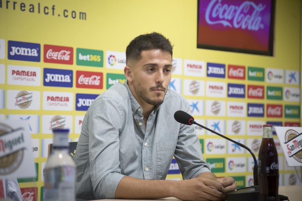 Pablo Fornals en la rueda de prensa de despedida del Villareal.