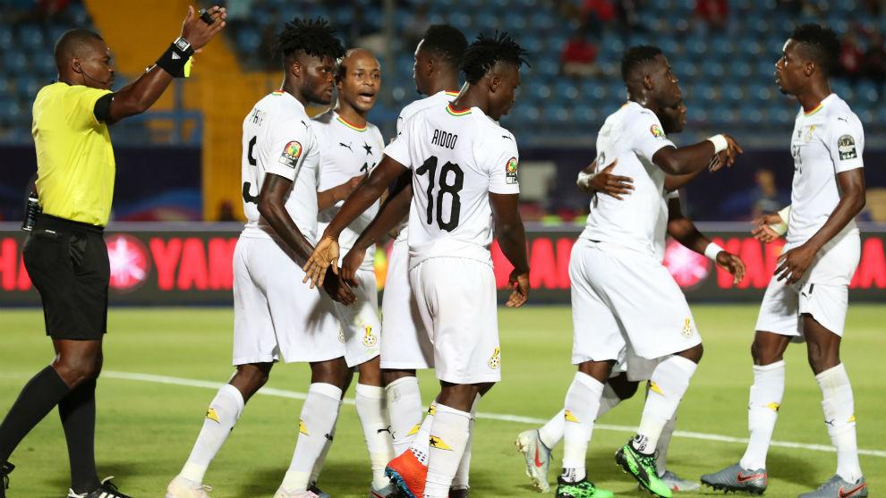 La selección de Ghana celebra el gol de Thomas Partey,