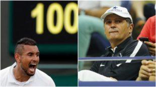 Kyrgios, a un lado, y Toni Nadal, en el otro