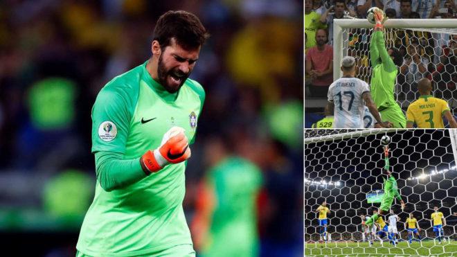 Alisson, con Brasil ante Argentina.