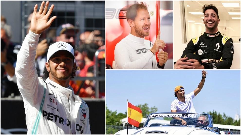 Hamilton, Vettel, Ricciardo y Sainz.