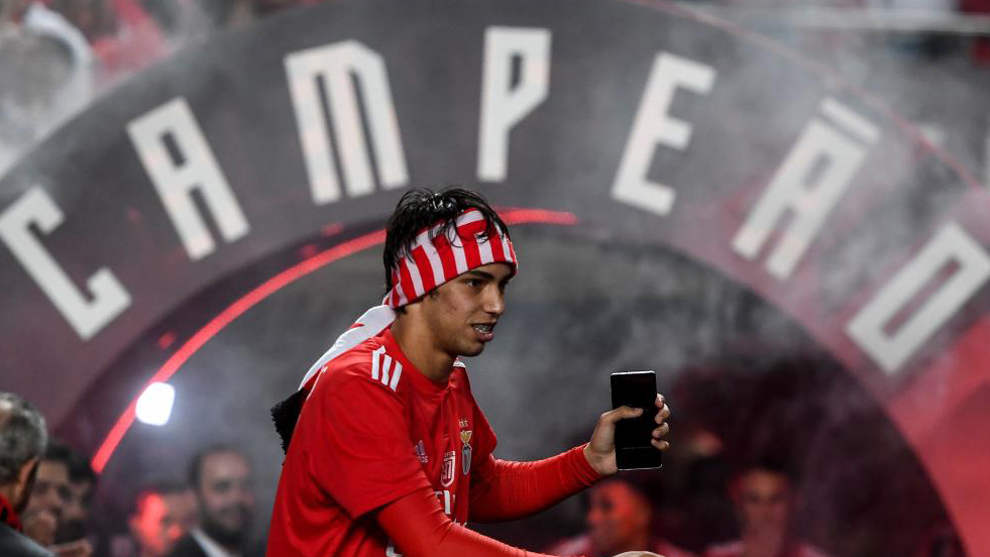 Joao Felix during Benfica's trophy celebrations.