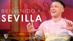Montaje del Sevilla FC con su fichajes Lucas Ocampos.
