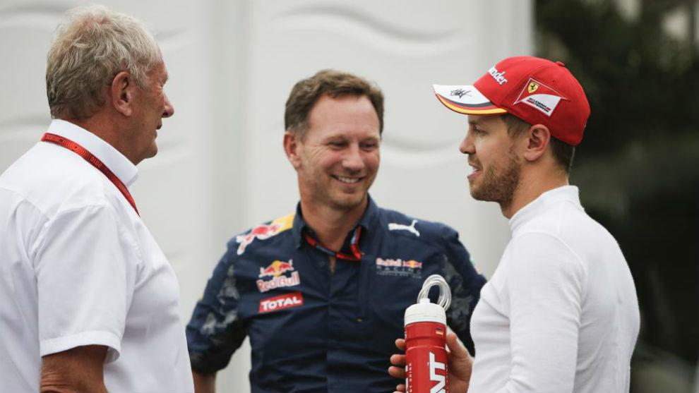 Marko, Horner y Vettel, en una imagen de archivo.
