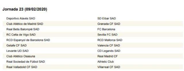 Calendario Futbol Liga Bbva 2020.Calendario Liga Jornada A Jornada Calendario Completo De La