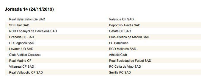 Athletic Calendario 2020.Calendario Liga Jornada A Jornada Calendario Completo De La