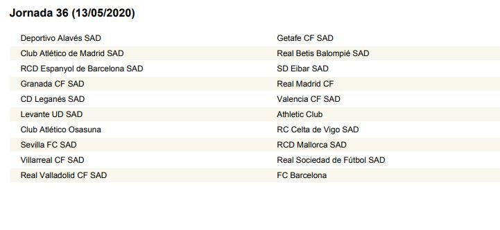 Calendario Liga Bbva 2020.Sorteo Liga El Calendario De Laliga 2019 2020 Al Completo