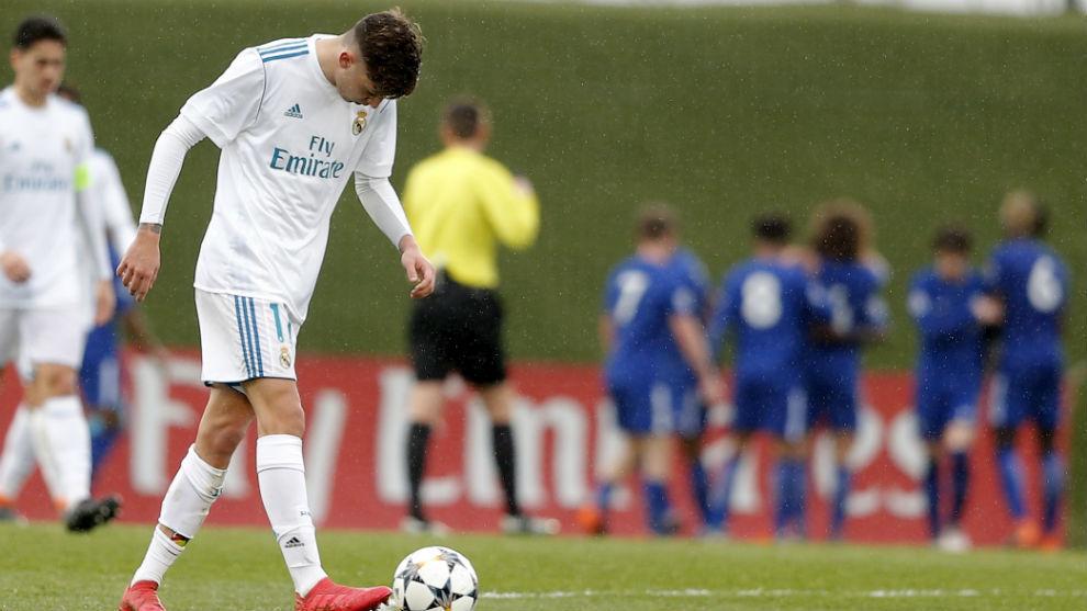 Cesar Gelabert looking crestfallen during a UEFA Youth League match.
