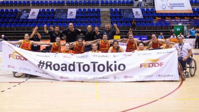 La selección española celebra la clasificación para Tokio 2020.