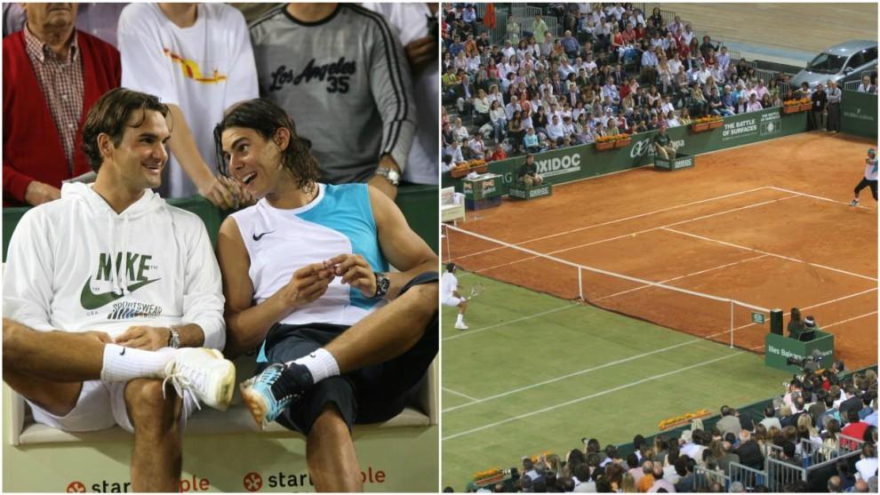 Federer y Nadal, durante la batalla de las superficies de Mallorca en