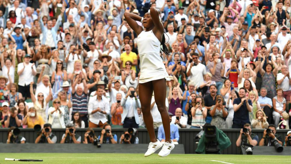 Gauff celebra su triunfo sobre la Pista Central de Wimbledon