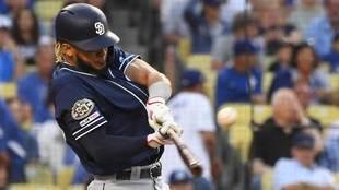 Fernando Tatis Jr., en acción ante los Dodgers.