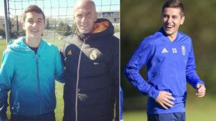 Javi Hernández posa con Zidane en 2014. A la derecha, con el Oviedo