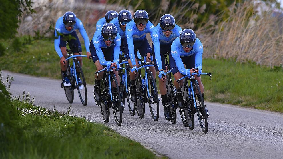 El equipo Movistar esta temporada en la Coppi e Bartali.