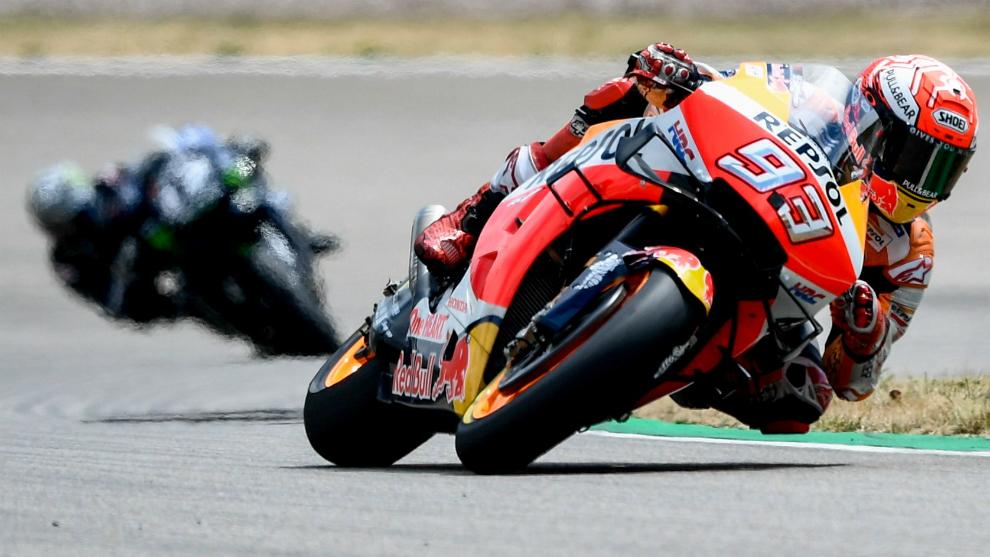 Marquez with Vinales behind