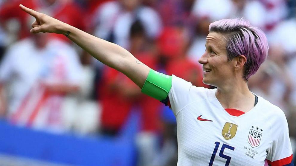 Megan Rapinoe celebra un gol en la final del Mundial.