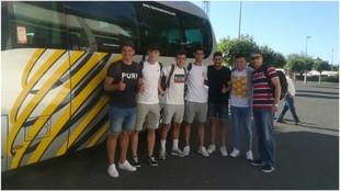Los jugadores del Salamanca, antes de partir hacia México.