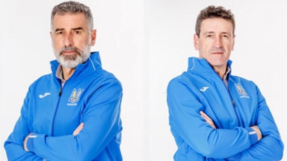 Tassotti y Pedro Jaro, en sus fotos oficiales con la selección de...