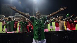 Andriatsima, capitán de Madagascar, celebra la victoria sobre RD...