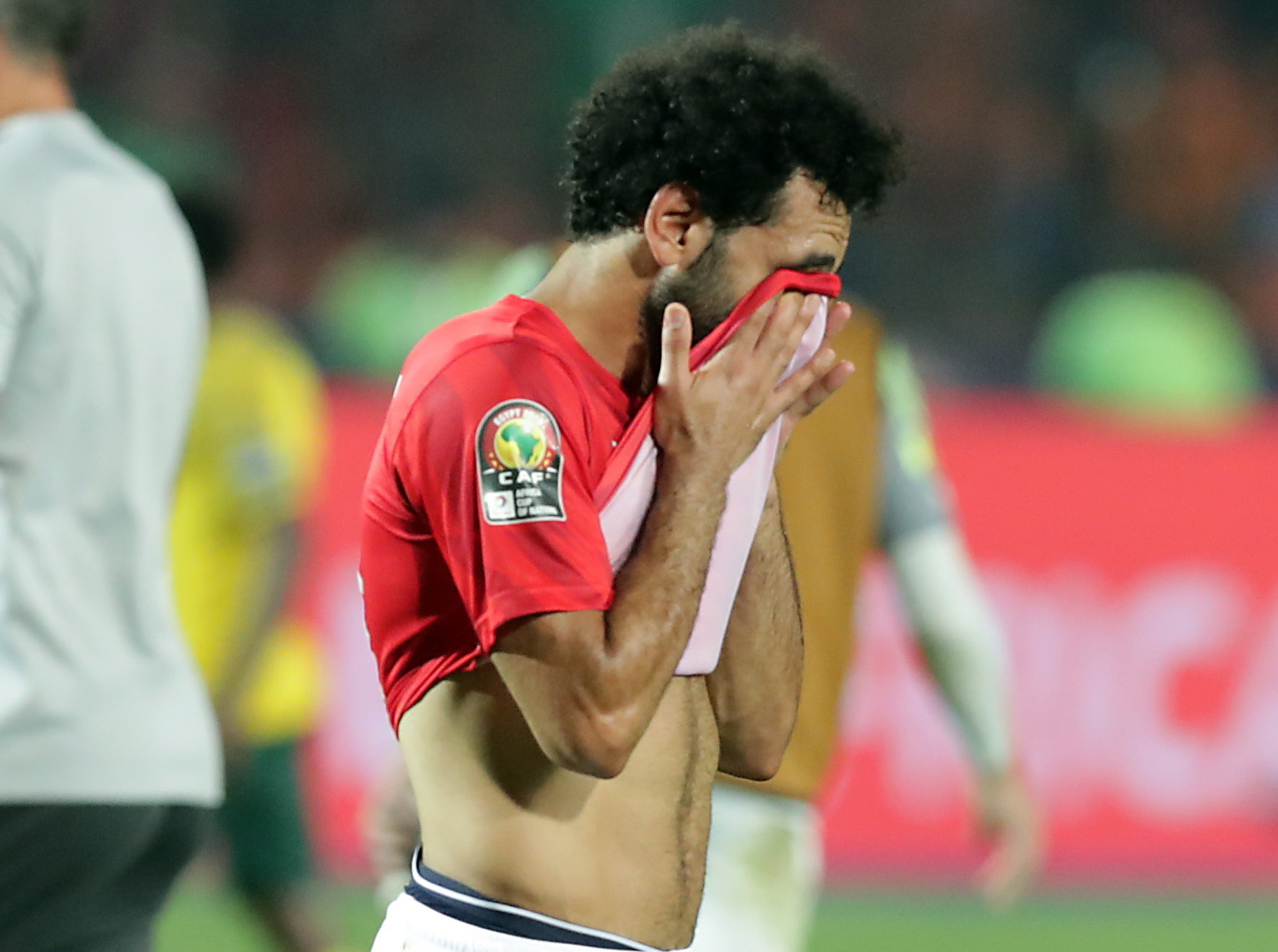 KEF001. Cairo (<HIT>Egypt</HIT>), 06/07/2019.- <HIT>Egypt</HIT>s Mohamesd <HIT>Salah</HIT> reacts after the 2019 Africa Cup of Nations (AFCON 2019) round of 16 soccer match between <HIT>Egypt</HIT> and South Africa in Cairo Stadium, Cairo, <HIT>Egypt</HIT>, 06 July 2019. (Egipto, Sudáfrica) EFE/EPA/KHALED ELFIQI