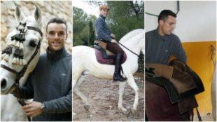 Bautista, montando a uno de sus caballos
