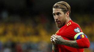 Sergio Ramos, en partido de clasificación para la Eurocopa 2020.