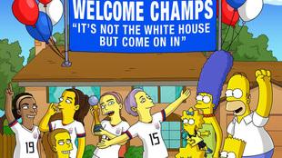 Los Simpson festejan a las campeonas del mundo.