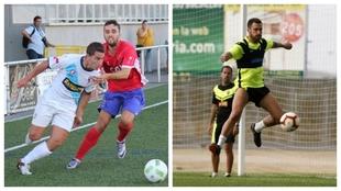 Manu Justo, disputando un balón y Jony Ñíguez en entrenamiento de...