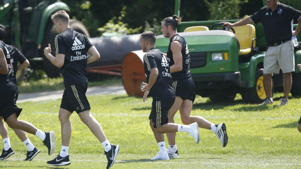 Bale y Hazard, juntos en el el primer entrenamiento en Montreal.
