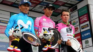 Nairo Quintana, Egan Bernal y Rigo Urán en el podio de la Colombia...