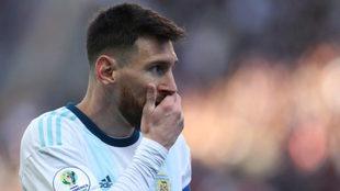 Messi durante un partido con la selección de Argentina.
