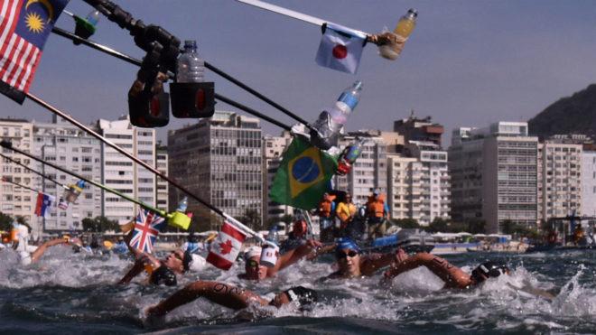 Imagen de la prueba de 10 km en aguas abiertas de los JJOO de Río...