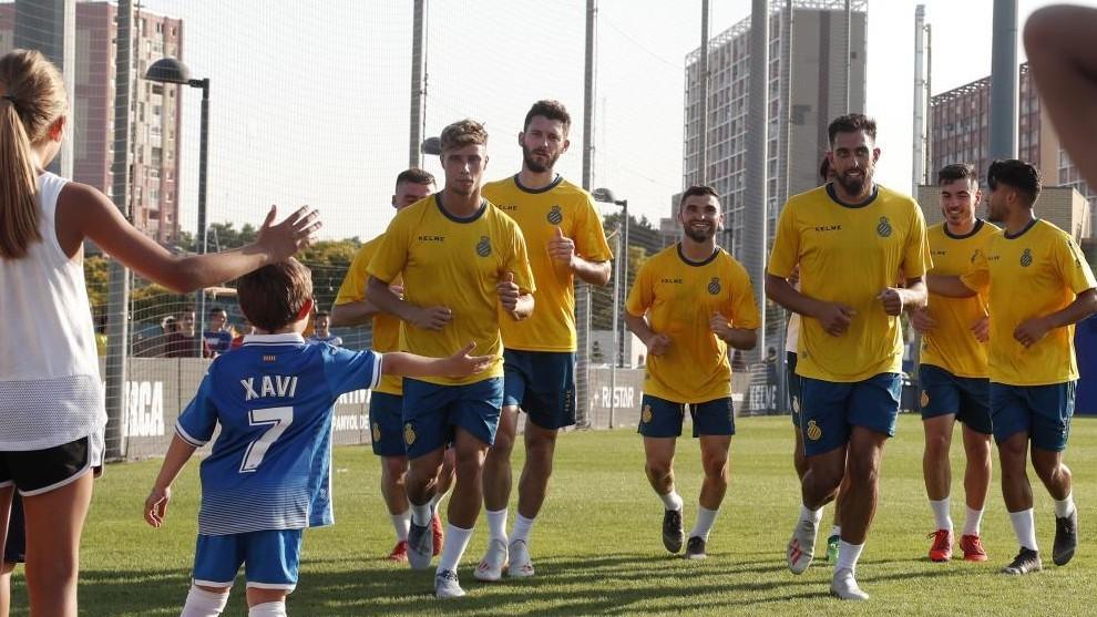 La plantilla del Espanyol, en un entrenamiento
