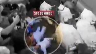 La cornada en el sexto encierro de San Fermín 2019