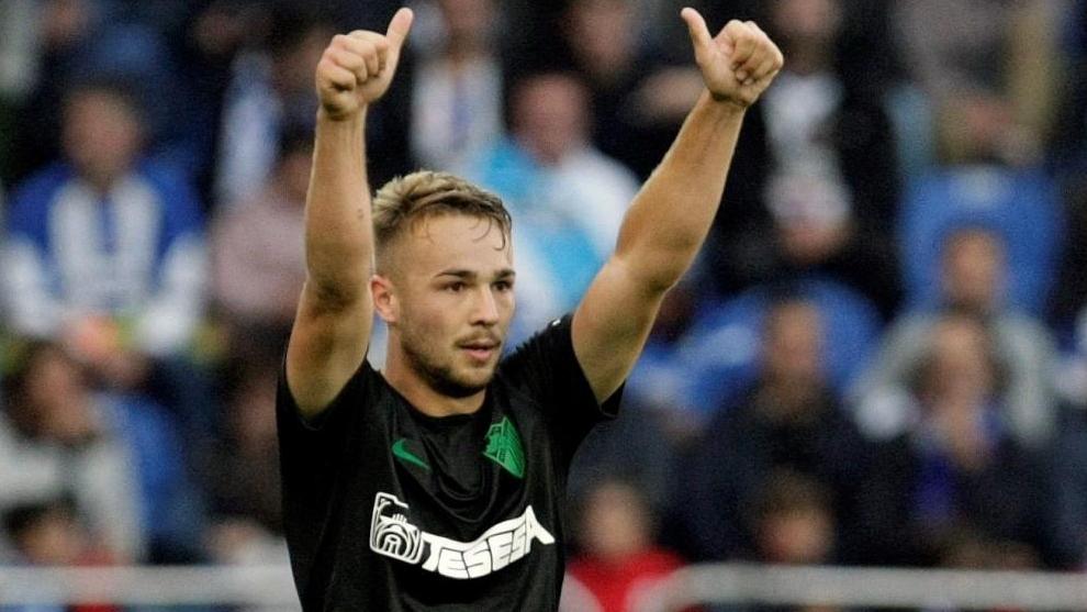 Ontiveros celebrando su gol frente al Deportivo de La Coruña la...