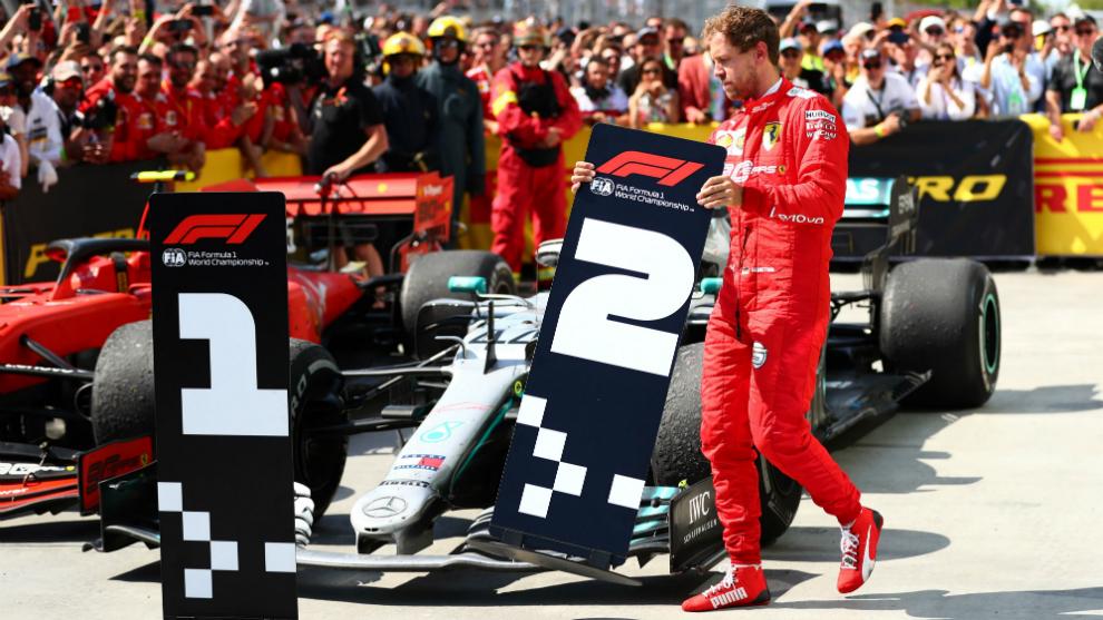 Vettel cambia los carteles en el GP de Canadá.