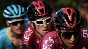 Egan Bernal junto a su compañer Geraint Thomas en el Tour de Francia...