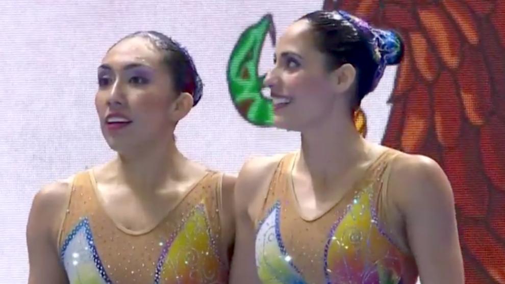 Nuria y Joana durante su presentación en el Mundial de Natación 2019