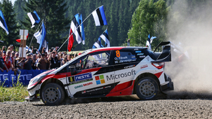 Ott Tänak, el ídolo local, durante el Rally de Finlandia del pasado...