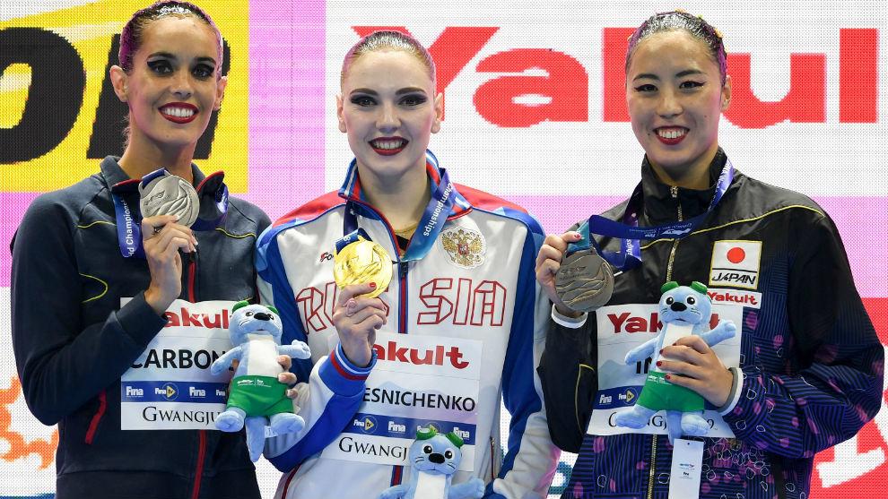 Carbonell, Kolesnichenko e Inui, en el podio de lo Mundiales.