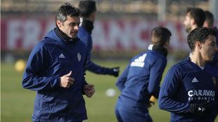 Dorado, en un entrenamiento con el Real Zaragoza.