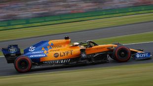 Carlos Sainz, durante la calificación de ayer en Silverstone.