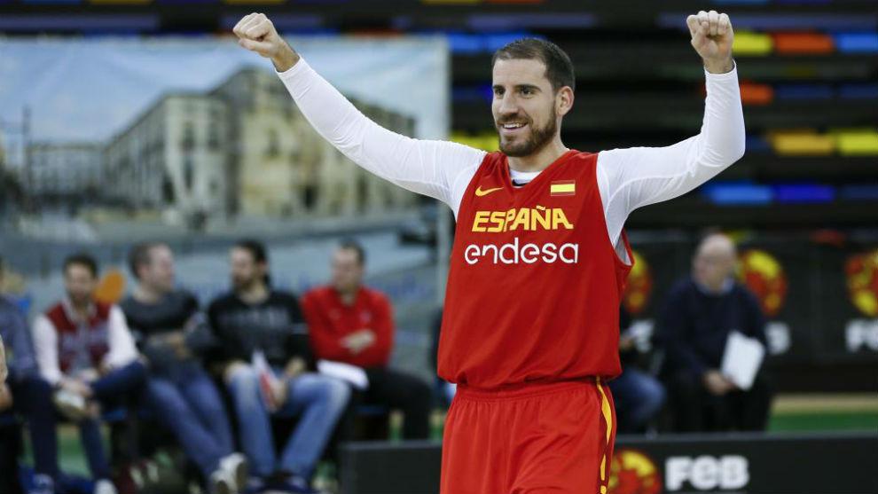 Quino Colom, durante un entrenamiento con la selección española...