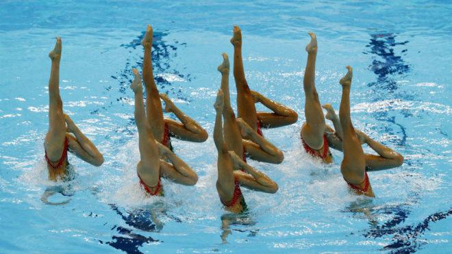 El equipo español, en una figura durante la rutina técnica