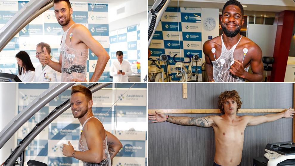 Sergio Busqeuts, Samuel Umtiti, Ivan Rakitic and Antoine Griezmann...